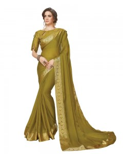 Comet Busters Olive Georgette Saree with Resham Border