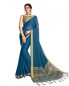 Comet Busters Georgette Saree With Resham Border (Blue)