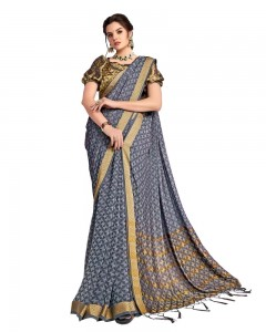 Comet Busters Georgette Saree With Resham Border (Grey)