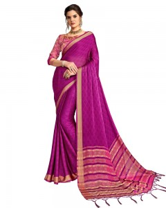 Comet Busters Georgette Saree With Resham Border (Violet)