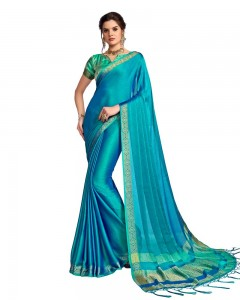 Comet Busters Georgette Saree With Resham Border (Peacock Blue)