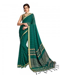 Comet Busters Georgette Saree With Resham Border (Green)