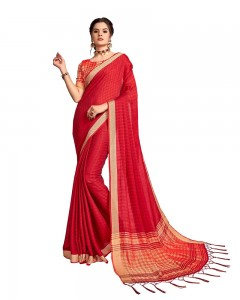 Comet Busters Georgette Saree With Resham Border (Red)