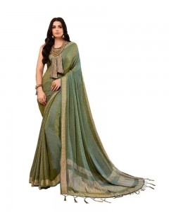 Comet Busters Self Design Olive Saree With Resham Border