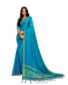 Comet Busters Self Design Blue Saree With Resham Border