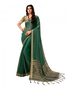 Comet Busters Self Design Dark Green Saree With Resham Border