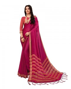 Comet Busters Self Design Pink Saree With Resham Border