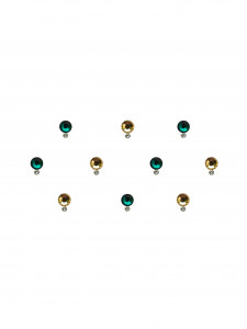 Comet Busters Green And Golden Swarovski Crystal Bindi