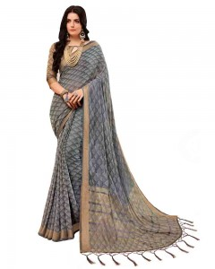 Comet Busters Self Design Grey Saree With Resham Border