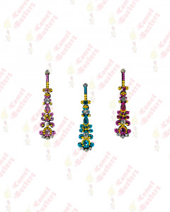 Comet Busters Long Stone Work Blue and Pink Bindi