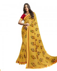 Comet Busters Printed Yellow Georgette Sari With Zari Border
