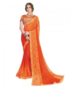 Comet Busters Printed Georgette Orange Saree with Border