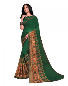 Comet Busters Dark Green Printed Georgette Saree With Border