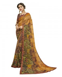 Comet Busters Women's Brown Printed Georgette Saree With Border