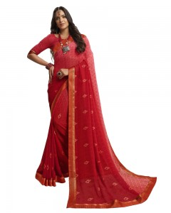 Comet Busters Printed Red Georgette Sari With Zari Border