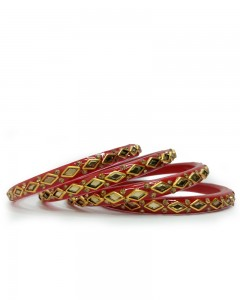 Comet Busters Traditional Red Lac Bangles for Women