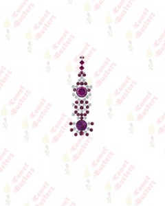 Comet Busters Premium Long Purple Bridal Bindi Studded with Silver Stones