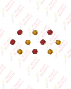 Comet Busters Red and Yellow Round Bindis With Stone Border (7 mm)