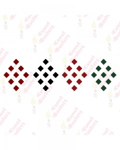 Comet Busters Maroon, Black, Red and Green Square Bindis