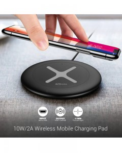 Portronics Toucharge X | POR-897 | Black | Wireless Mobile Charger