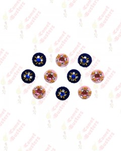 Comet Busters Pink and Blue Round Bindi With Stone Crystals