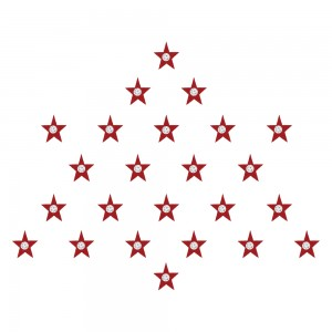 Comet Busters Red Star Bindis With Silver Stone (BIN1210)