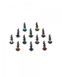 Comet Busters Designer Black Bindi with Multicolored dots