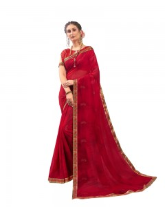 Comet Busters Georgette Blend Printed Red Saree with Border