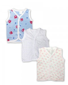 Comet Busters New Born Baby Sleeveless JHABLA (Set of 3) 0-3 months