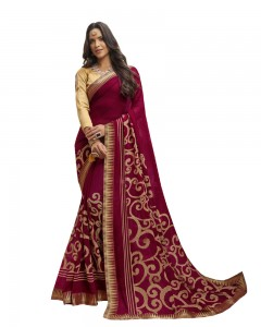 Comet Busters Printed Maroon Georgette Sari With Zari Border