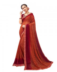 Comet Busters Georgette Blend Printed Dark Orange Saree with Border