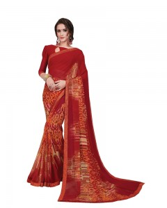 Comet Busters Printed Red Georgette Sari With Border