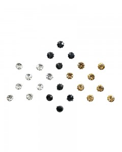 Comet Busters Crystal Collection Black Golden Silver Dot Bindi