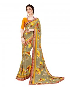 Comet Busters Light Grey Georgette Saree with Printed Border