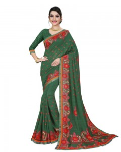 Comet Busters Printed Jute Silk Saree with Border