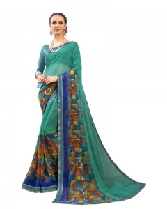 Comet Busters Georgette Blend Printed Blue Saree with Border