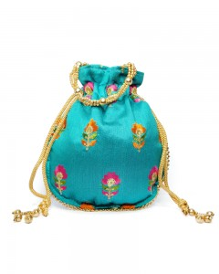 Comet Busters Ethnic Blue Potli Pouch Bag with Thread Work For Women