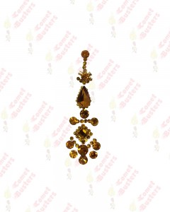 Comet Busters Premium Long Bridal Yellow Bindi Studded with Stones