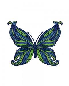 Comet Busters Temporary Glitter Butterfly Tattoo Stick Ons (Blue)