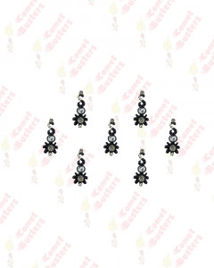 Comet Busters Fancy Black Bindis With Multicolor Stone