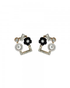 Comet Busters Elegant Flower Stud Earrings With Pearl for Women and Girls