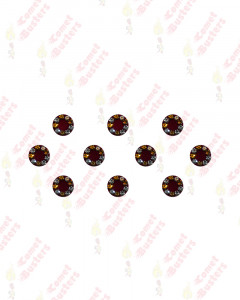 Comet Busters Round Maroon Bindis With Golden and Silver Stone Border (7 mm)