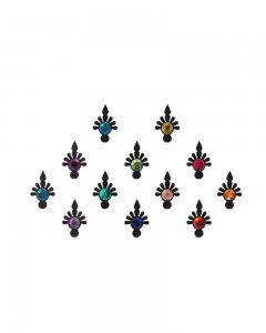 Comet Busters Beautiful Black Bindi With Multicolor Stones