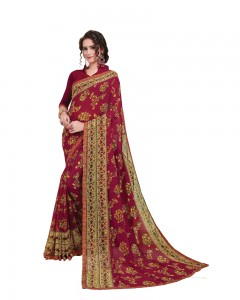 Comet Busters Printed Maroon Georgette Sari With Border