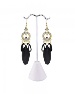 Comet Busters Black Feathers Latest Stylish Long Tassel Earrings for Women & Girls
