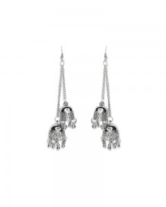 Comet Busters Stylish Oxidised Silver Earring Jhumkis For Women
