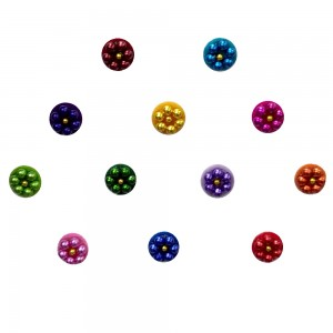 Comet Busters Colorful Round Bindis With Bead Work (BIN1120)