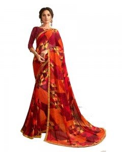Comet Busters Red Printed Saree With Blouse