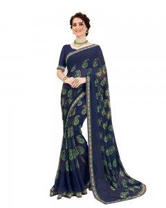 Comet Busters Navy Blue Georgette Saree with Printed Border