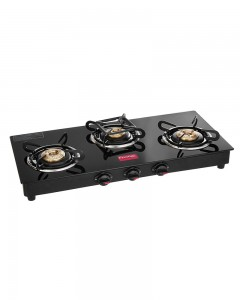 Prestige Marvel Glass 3 Burner Gas Stove | Black